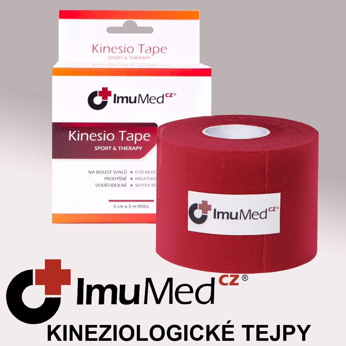 ImuMedCZ Kinesio Tape, tejpovací páska červená 5 cm x 5 m - ImuMedCZ - Kineziolologické tejpy, obinadla-ImumedCZ.cz